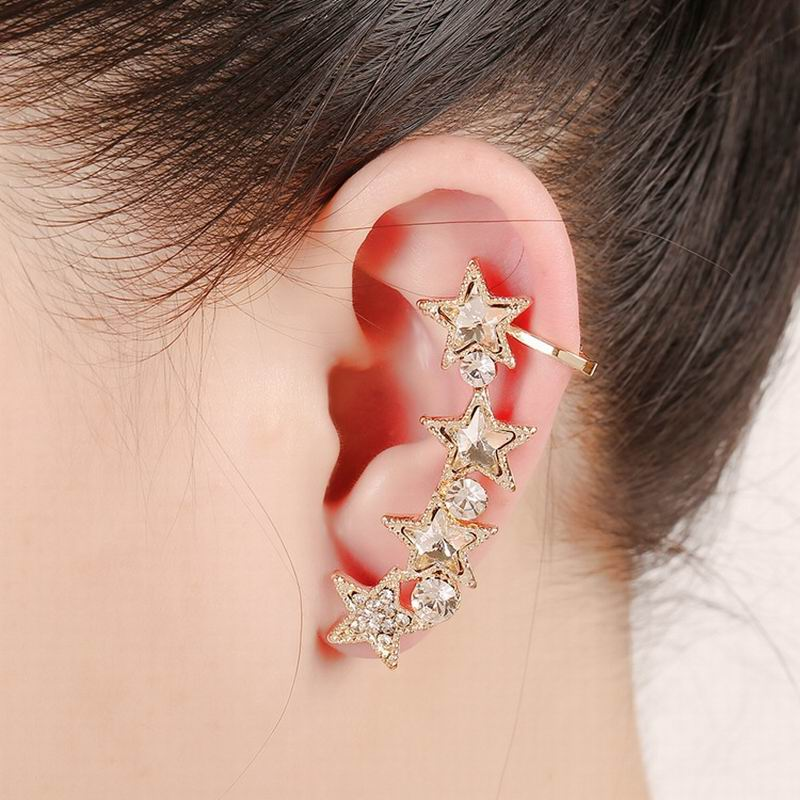 Glittery Crystal Multi Stars Earrings Anti Allergy Ear Cuff Earring For Fashion Girls
