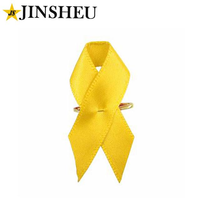 Bulk Promotional Safe Pin Fabric Cheap Yellow AIDS Ribbon