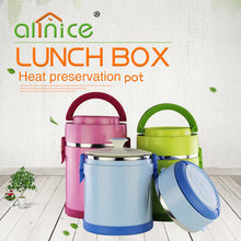 Portable double wall stainless steel insulated tiffin box hot food pot with handle