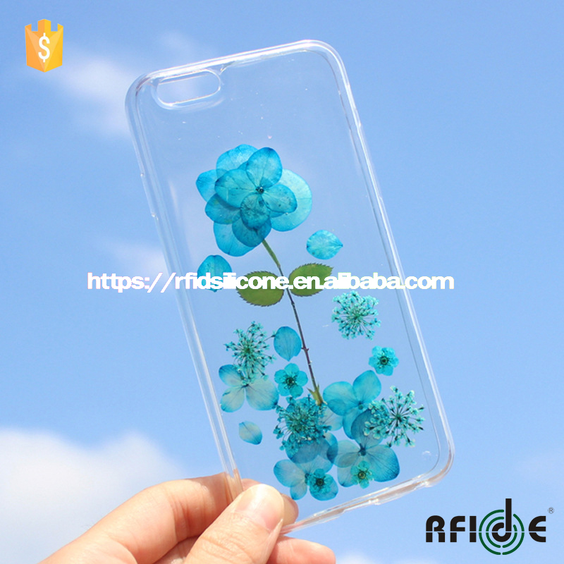 RFID Cute Daisy and Calendula Real Dried Pressed Flowers Case for Iphone SE