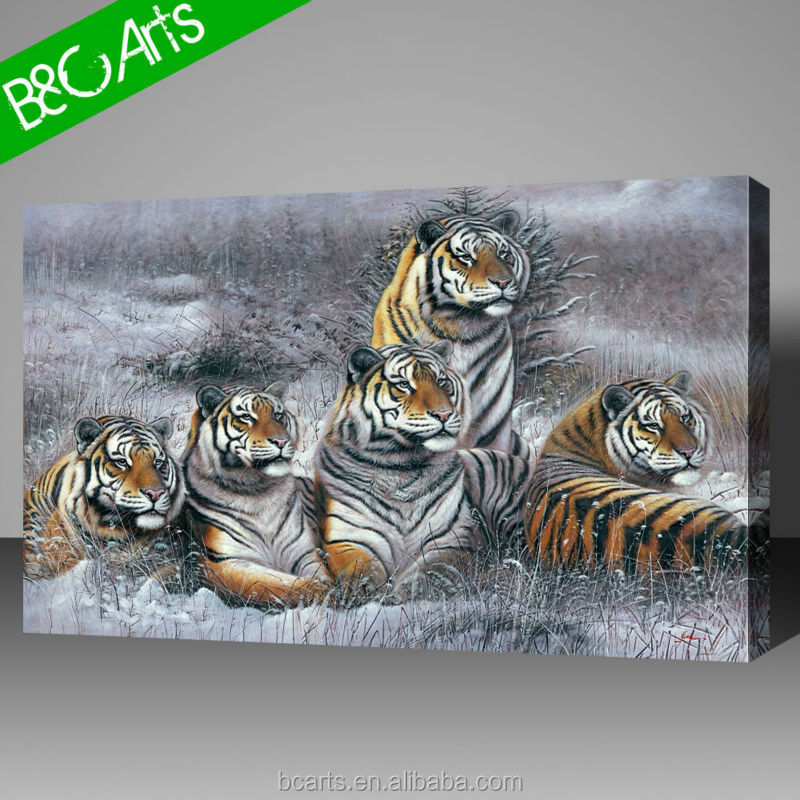 China supplier five tiger on the land art decor famous realist animal oil painting