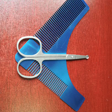 Fashion Men Shaving Tool Beard Comb Stainless Comb&Eyebrow Makeup Manicure Face Hair Scissors