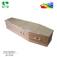 best selling MDF flat lid wooden funeral coffin