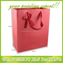 (BLF-PB108)Red paper bag embossed texture paper