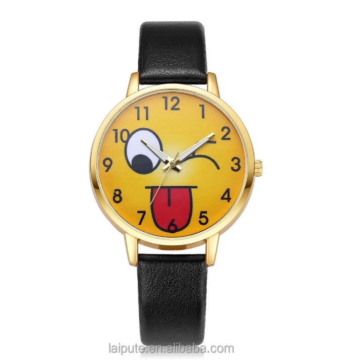 2017 HOT lady Emoji Watch Happy Smile Face Italian leather watch for women