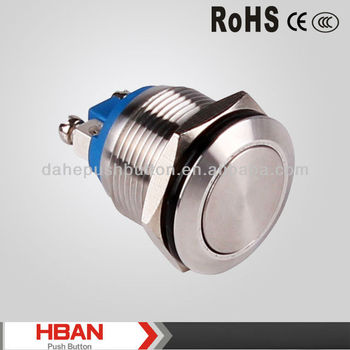 CE RoHS HBGQ19F Matel Momentary Push Button Switch