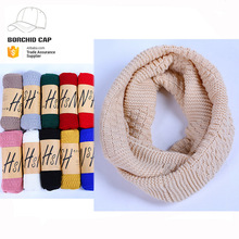 wholesale fall and winter plain solid color scarf China handmade knitted neckerchief scarf