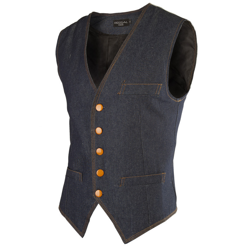 2015 New Fashion Brand Men Cowboy Vest Slim Fit Casual Men's  Denim Waistcoat  Sleeveless Top Mens Jeans Vest Waistcoats