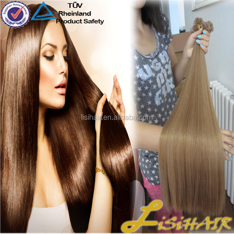 Wholesale Top Grade 100% Remy Unprocessed Shedding Free brazilian Light Brown Flat Tip Hair Extension