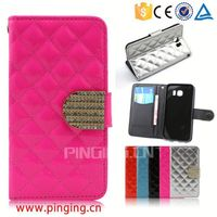 Elegant Diamond grid square Lady Wallet Leather Phone Case for Cherry Mobile Flare S3 Mini