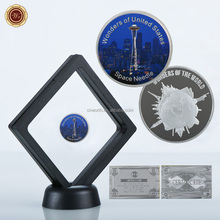WR 999.9 24k Silver Plated Coin Space Needle Challenge Metal Art Crafts with Display Stand for Creative Business Gifts Souvenir