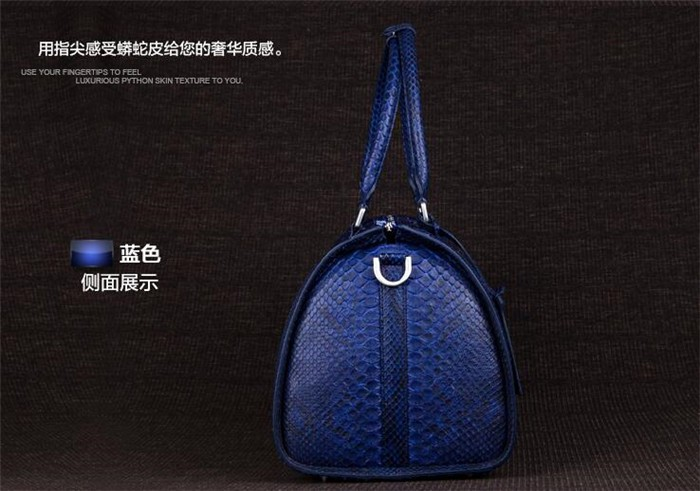 Updated new fashion mens genuine python snake skin leather weekend travel duffle bag_11
