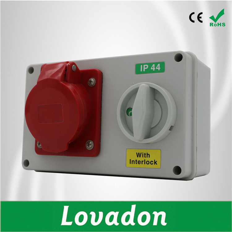 IP44 IP65 Industrial Plug Socket 220V 16A Connector Interlocking Switch Socket Box