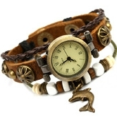 Wholesale cheap vintage leather wrist watch with dolphin for men women