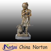 life size bronze girl with dog garden statues NTBH-C411S