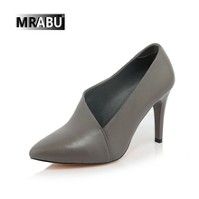 gray pointed toe fashion slip on designer shoes 2017 genuine leather pump pictures of women in high heel shoes