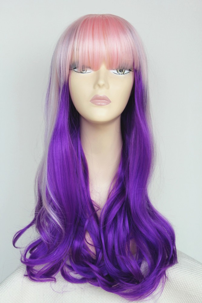 cheap synthetic hair cosplay wig factory price, violet purple with pink ombre wigs