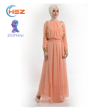 Zakiyyah #219 Adult Pakistani Long Dresses Arabic XXX Muslim Dress Indonesia Beach Kaftan with Long Sleeves