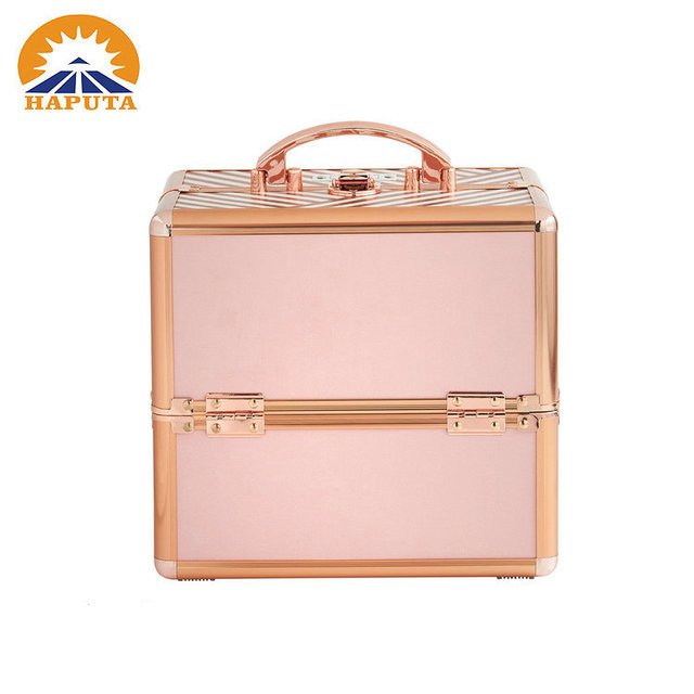 Gold Professional aluminum cosmetics artist case with customized print