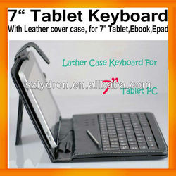 "7"" Tablet Leather Keyboard Case Cover Bracket USB+MINI USB for Tablet PC MID Apad Epad Russian optional"