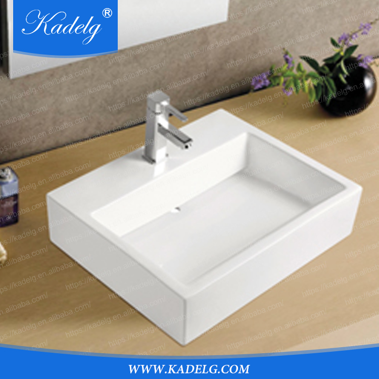 White Retangular Hand Wash Porcelain Countertop Sink with CE