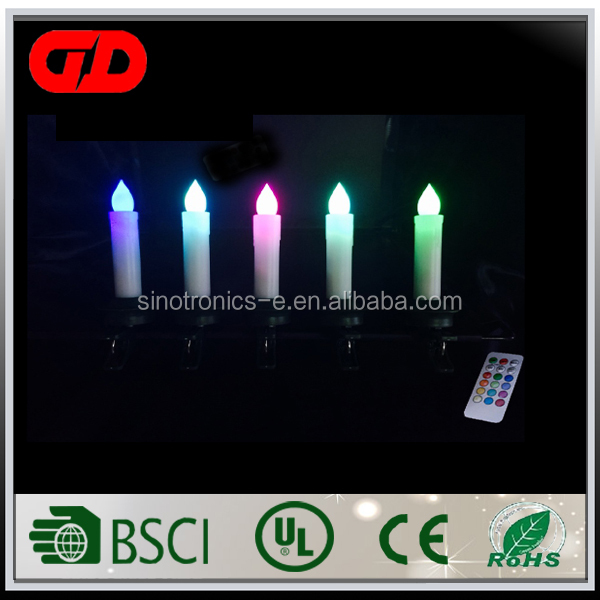 Halloween decoration multi color christmas tree wireless led candle