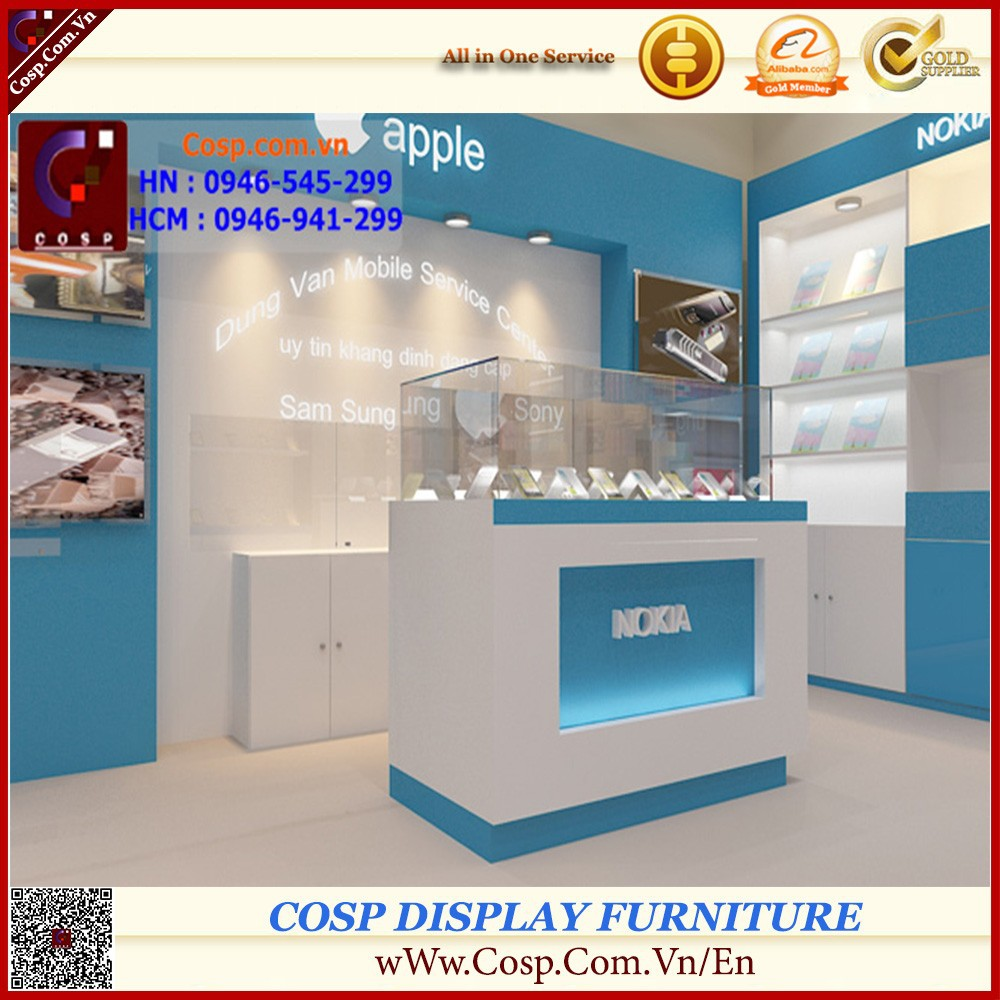 Store wood glass mobile phone display cabinet showcase