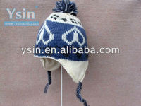 2015 fashion cute knitted peruvian earflap beanie hat with top ball