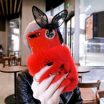 2018 new luxury fluffy lace bowknot women soft warm mobile phone case for <strong>iPhone</strong> 6s 7 8 Plus X
