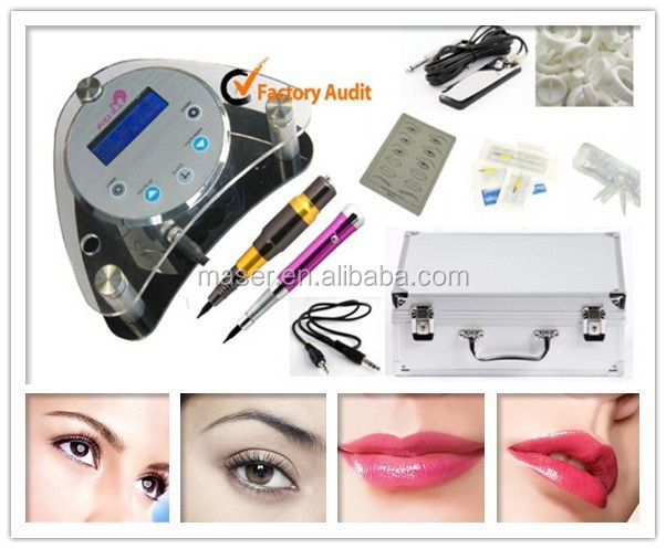 2 Handpiece full accessories acrylic LCD power supply digital permanent makeup machine kit