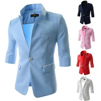 Hot ! 2015 Free Shipping 5 Candy Colors Stand Collar One Button Casual Slim Stylish Suit Men Blazer Coat Suit Men's Garment