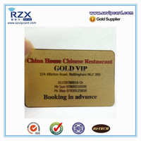 Gold VIP card metal business for hotel& restaurant