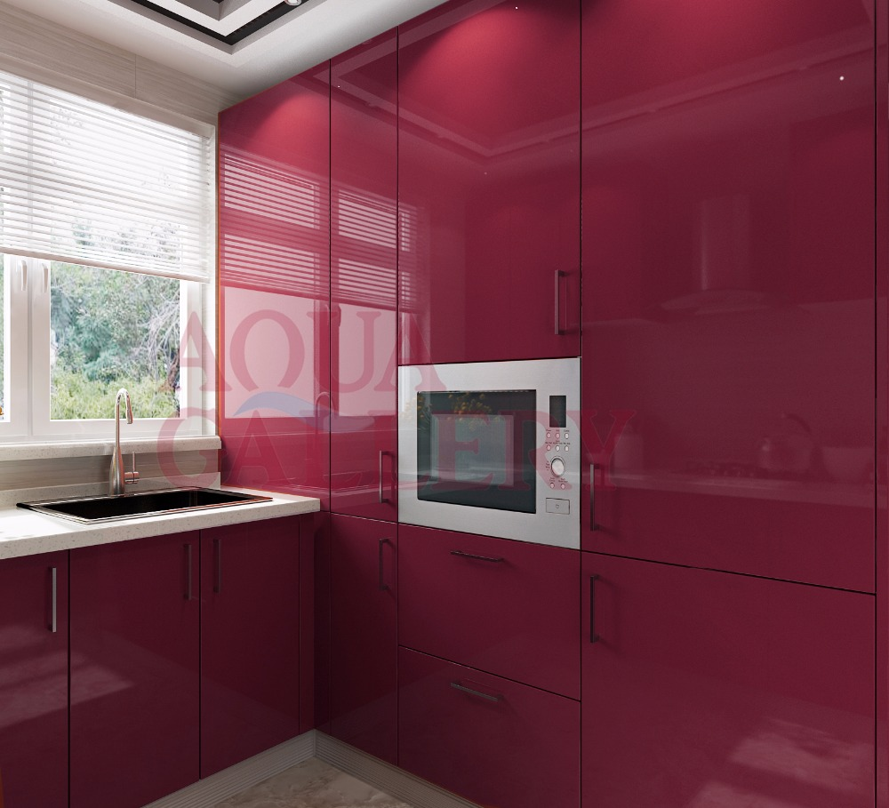 High Gloss Wine Red Color Crystal Steel Board Kitchen Cabinet With
