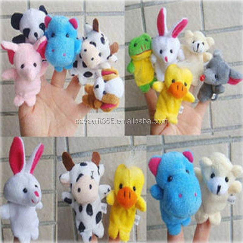 Cartoon Biological Animal Finger Puppet Plush Toys Child Baby Favor Dolls