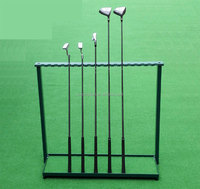 Golf club display rack driving range field devices with 18 show billiard cue rack