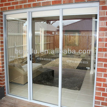 Aluminium sliding door in powder coating color,tempering glass