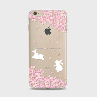 Clear TPU print case bunny rabbit with Sakura TPU cover case Soft custom Phone Case For iPhone 6 6S