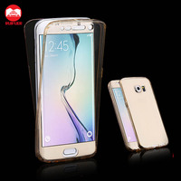 Wholesale Seamless Front and Back Two Pieces Clear Soft Shockproof 360 Degree Full Body TPU Gel Case for Samsung Galaxy S7 Edge
