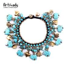 Artilady turquoise bead bohemia bell handcraft women ally express wholesale bracelet