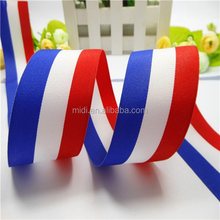 Beautiful red white and blue three color flag shape woven rainbow ribbon