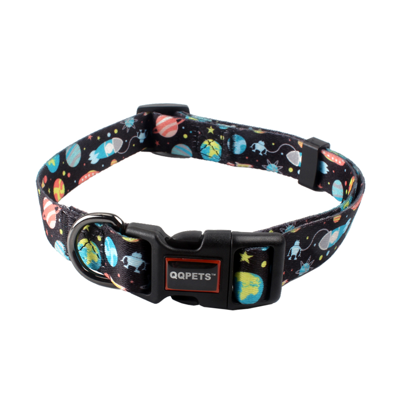 Season design 20 colors soft polyester pattern adjustable QQPETS brand dog collar
