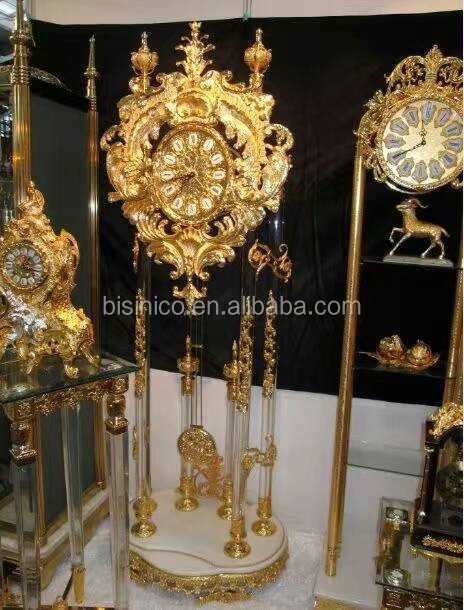 Luxury Crystal With Brass Floor Clock Bronze With 24k Gold