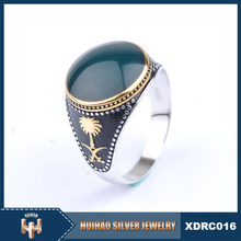 new model fashion 925 sterling silver arab men ring with stone