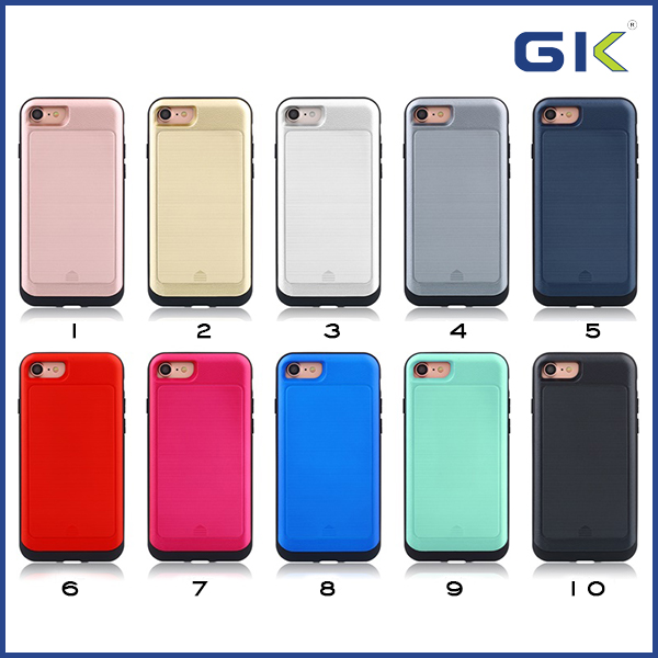 [GGIT] Fashion Wire Drawing Slide Cover Card Slot Hybrid 2 in 1 Combo Case For IPhone 7 Cover
