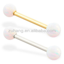 Opal Barbell Piercing 316L Stainless Steel Straight Barbell Tongue Bars Tongue Rings with Opal Balls