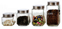 food glass canisters metal lid large glass herb storage jars