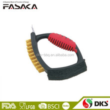 BZZ0160 Safety Design High Quality Plastic Rubber Handle Brass Wire BBQ Grill Barbecue Cleaning Brush Wire Brush