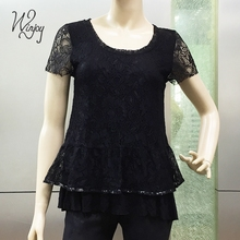 New type women stylish blouse ladies short sleeve new model neck blouses