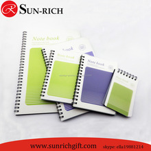 2015 hot sell outer clear PP cover spiral lined notebook wholesale A7 A6 A5 B5