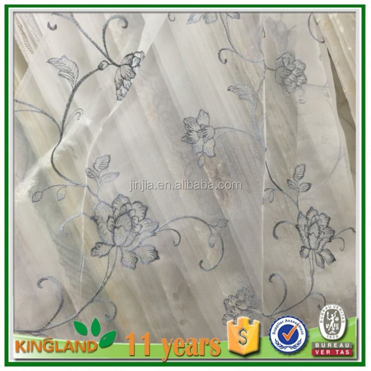 American style flower Organza Embroidered Curtain designs